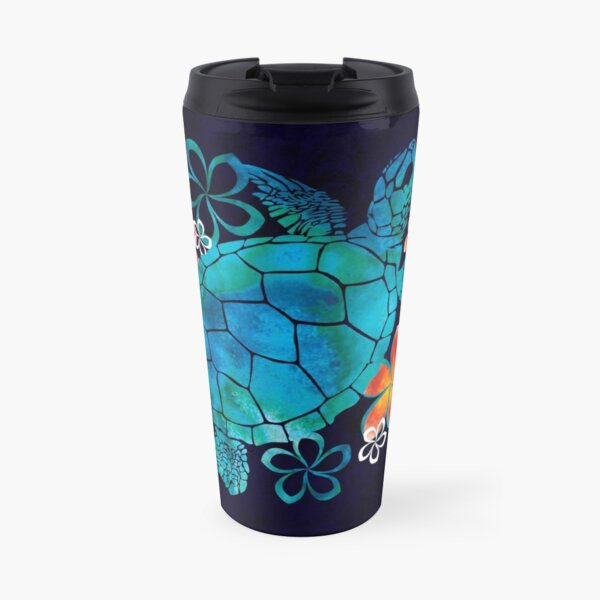 Sea Turtle with Flowers Travel Mug