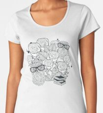 White roses and owls Women's Premium T-Shirt