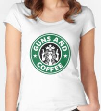 Guns and Coffee Women's Fitted Scoop T-Shirt
