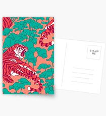 Scharlachrote Tiger auf Lotosfeld. Postkarten