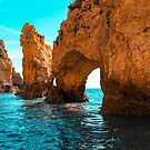 Rough Beauty - Sea Stacks and Natural Arches in Orange and Teal by Georgia Mizuleva