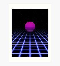 80s Digital Horizon - Sunset Aesthetic Art Print