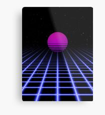 80er Jahre Digital Horizon - Sonnenuntergang ästhetisch Metalldruck
