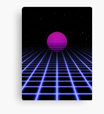 80s Digital Horizon - Sunset Aesthetic Canvas Print