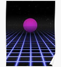 80er Jahre Digital Horizon - Sonnenuntergang ästhetisch Poster