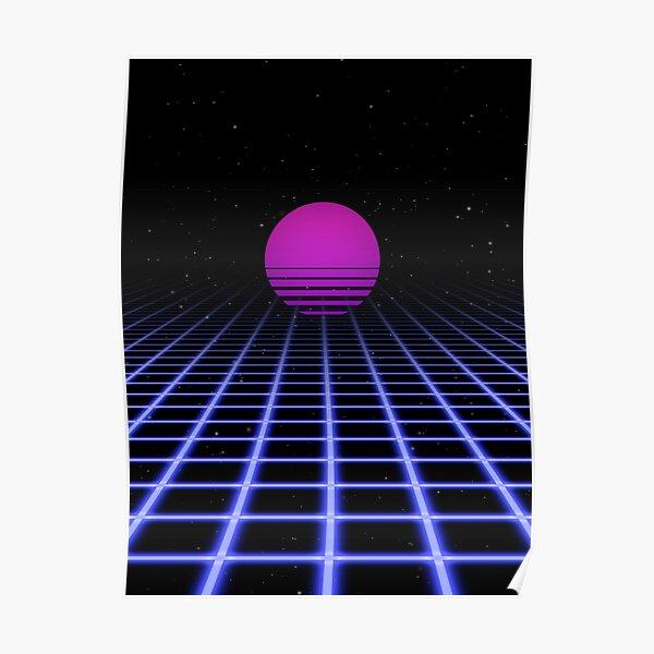 80s Digital Horizon - Sunset Aesthetic Poster