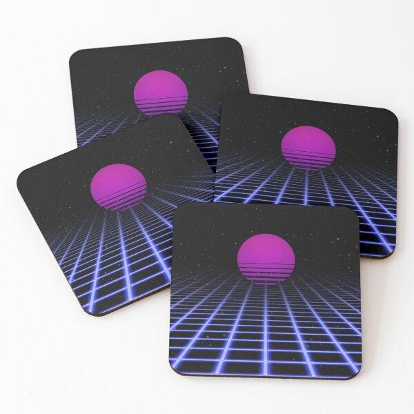 80s Digital Horizon - Sunset Aesthetic Coasters (Set of 4)