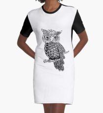 Cute Owl On Tree Graphic T-Shirt Dress