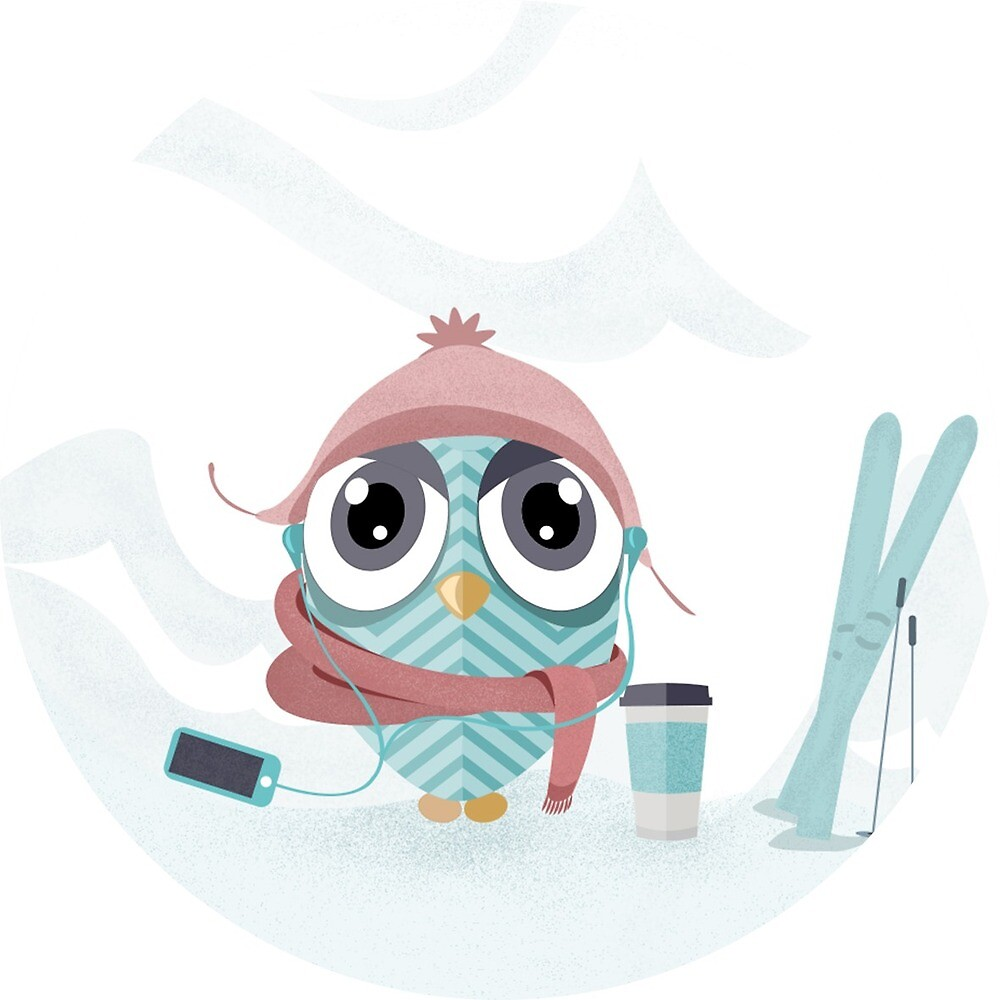 Owl gone skiing by Miruna Illustration
