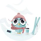 Owl gone skiing by Miruna Illustration