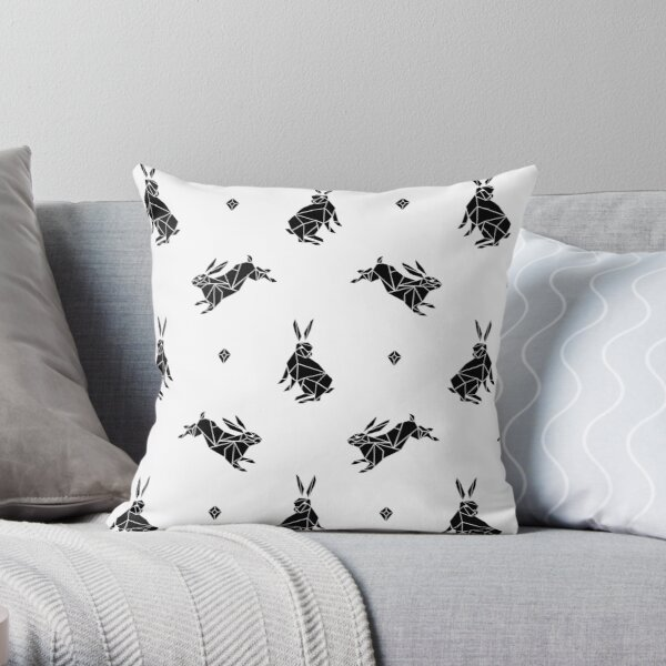 Geometric Bunny Rabbits - Black Throw Pillow