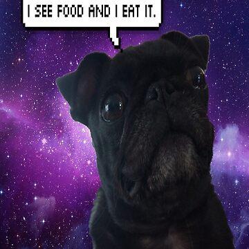 "Luna the pug ""I see food"" by Emily-Desgins"
