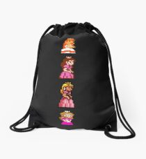 All 8 Bit Peach Drawstring Bag