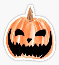 Spooky Jack-o-Lantern Watercolor Pumpkin Sticker