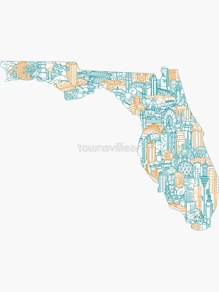 Florida Landmark Art Map by townsvilleart