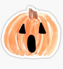 Pegatina Halloween Jack-o-Lantern, calabaza de acuarela, feliz Halloween, calabaza espeluznante