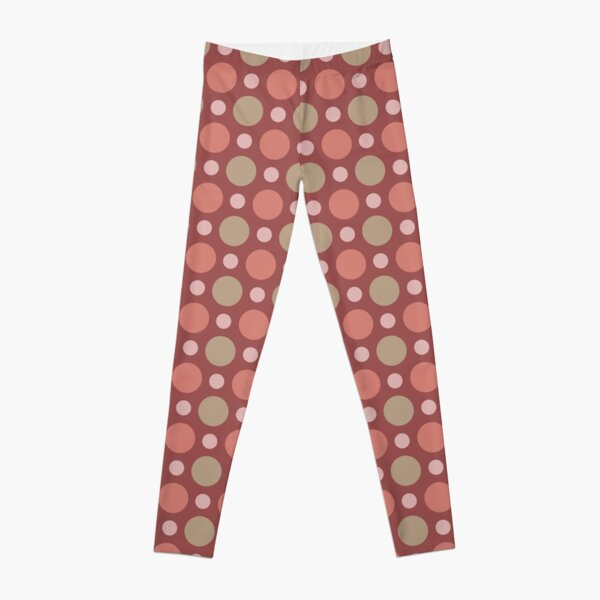 Polka Dots Wine Red Marsala Travertine Terra Cotta Leggings