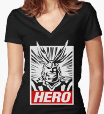 Boku No Hero Academia - All Might Women's Fitted V-Neck T-Shirt