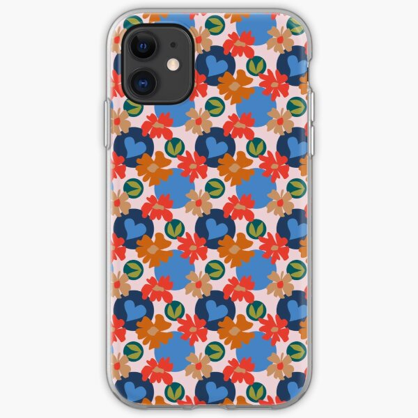 Fashionable Autumn Fall Floral Heart Leaves Dots Pattern iPhone Soft Case