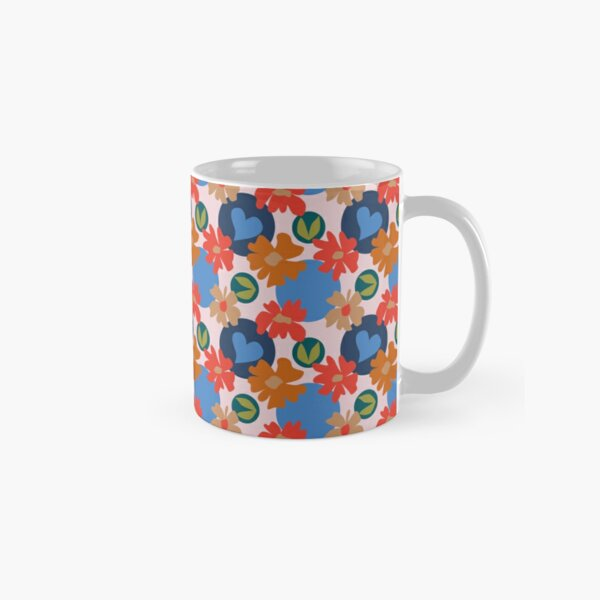 Fashionable Autumn Fall Floral Heart Leaves Dots Pattern Classic Mug