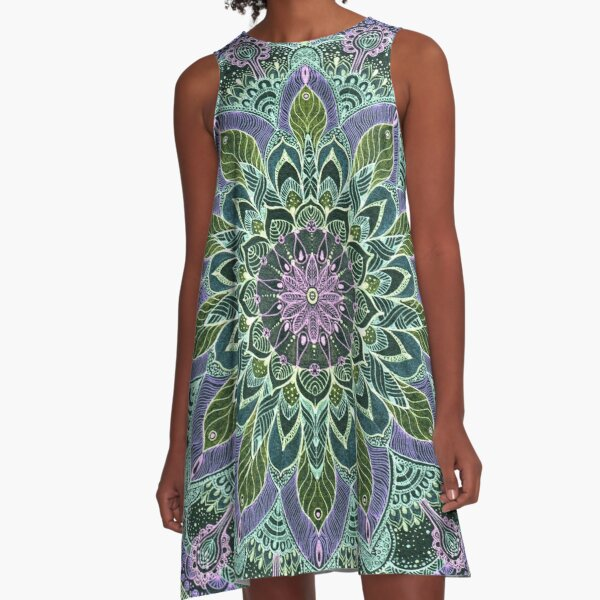 Hand Drawn Pink Purple Mandala  on Dark A-Line Dress