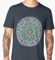 Hand Drawn Pink Purple Mandala  on Dark Men's Premium T-Shirt
