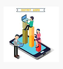 Distant Work. Team Work. Modern Technology. Remote Work. Isometric People. Isometric Concept. Man with Laptop. Woman with Tablet. Man with Tablet. Photographic Print