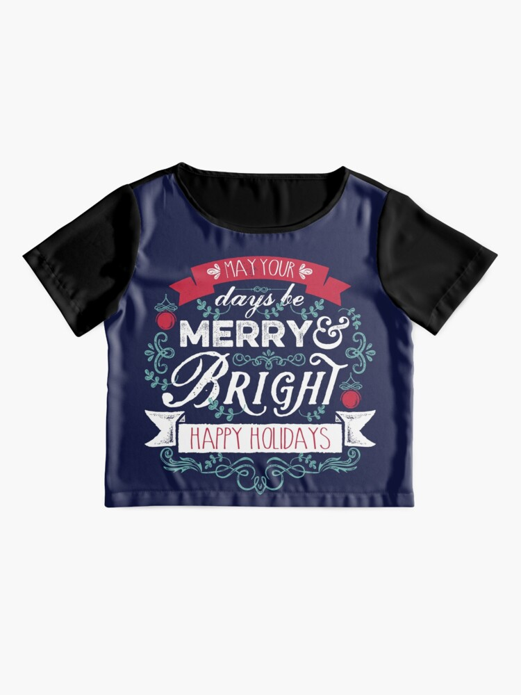 Alternate view of Merry & Bright Christmas Happy Holidays Typography Chiffon Top