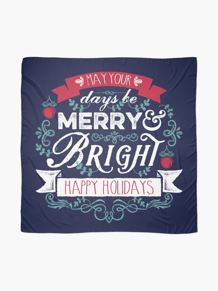Alternate view of Merry & Bright Christmas Happy Holidays Typography Scarf
