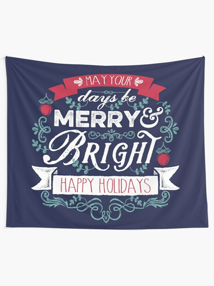 Alternate view of Merry & Bright Christmas Happy Holidays Typography Tapestry