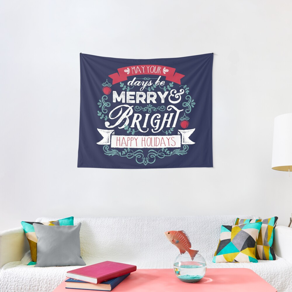 Merry & Bright Christmas Happy Holidays Typography Tapestry
