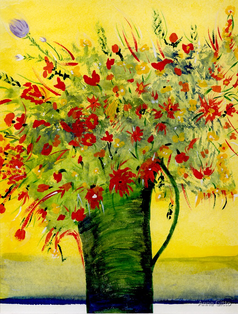 Red Flowers in a green vase by Anne Gitto