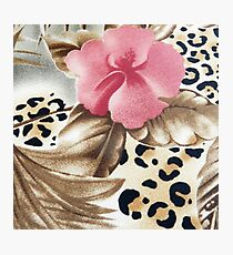 Abstract girly pink brown leopard print floral  Photographic Print