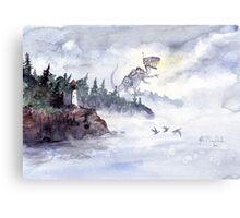 Robot Dinosaur escapes the city. Canvas Print