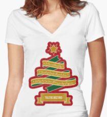 Christmas Tree Ribbon Red Plaid Yuletide Greetings Fitted V-Neck T-Shirt
