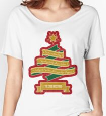 Christmas Tree Ribbon Red Plaid Yuletide Greetings Women's Relaxed Fit T-Shirt