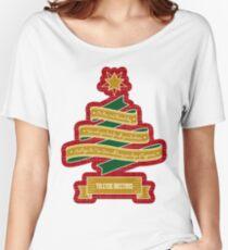 Christmas Tree Ribbon Red Plaid Yuletide Greetings Relaxed Fit T-Shirt
