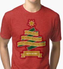 Christmas Tree Ribbon Red Plaid Yuletide Greetings Tri-blend T-Shirt