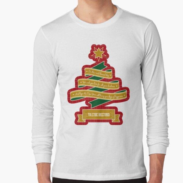 Christmas Tree Ribbon Red Plaid Yuletide Greetings Long Sleeve T-Shirt