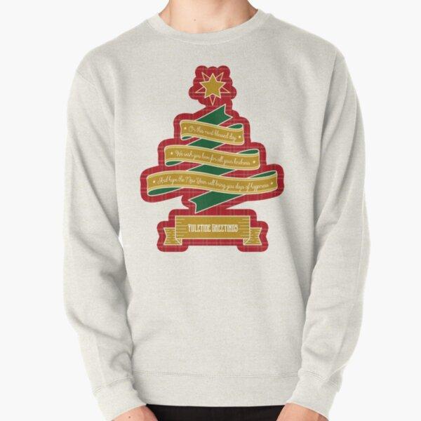 Christmas Tree Ribbon Red Plaid Yuletide Greetings Pullover Sweatshirt