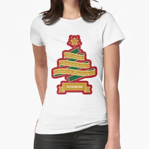 Christmas Tree Ribbon Red Plaid Yuletide Greetings Fitted T-Shirt
