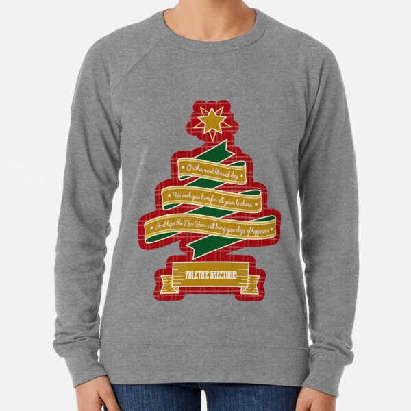 Christmas Tree Ribbon Red Plaid Yuletide Greetings Lightweight Sweatshirt