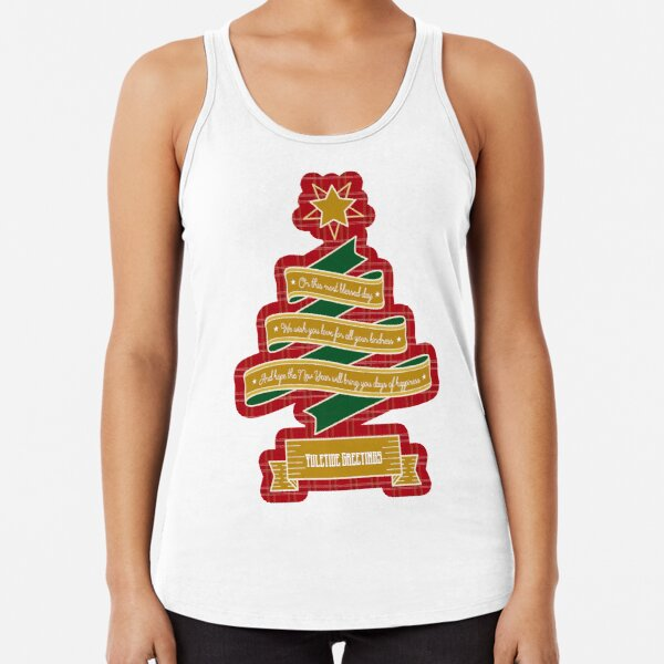 Christmas Tree Ribbon Red Plaid Yuletide Greetings Racerback Tank Top
