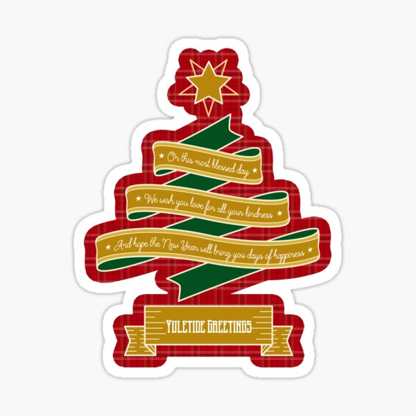 Christmas Tree Ribbon Red Plaid Yuletide Greetings Sticker
