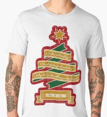 Christmas Tree Ribbon Red Plaid Yuletide Greetings Men's Premium T-Shirt