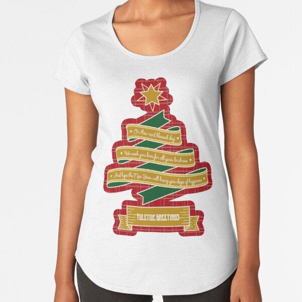 Christmas Tree Ribbon Red Plaid Yuletide Greetings Premium Scoop T-Shirt