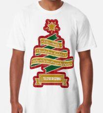 Christmas Tree Ribbon Red Plaid Yuletide Greetings Long T-Shirt