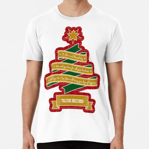 Christmas Tree Ribbon Red Plaid Yuletide Greetings Premium T-Shirt