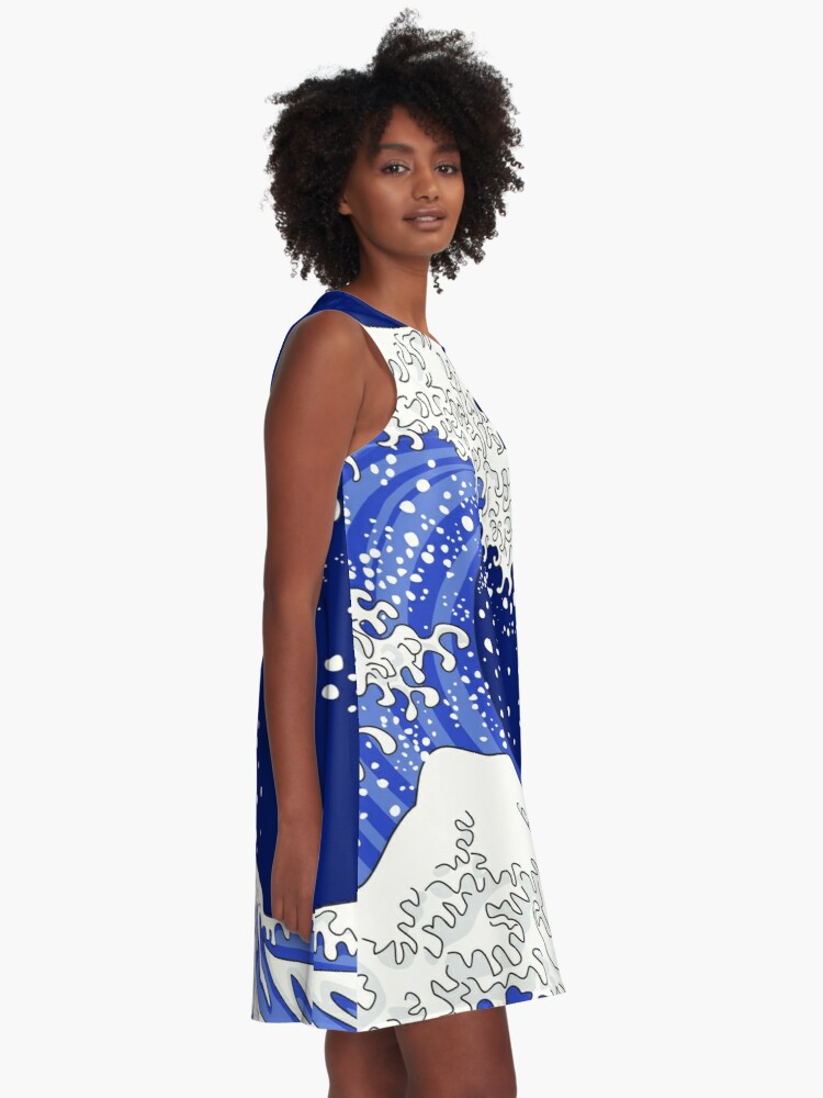Alternate view of Great Blue Wave A-Line Dress