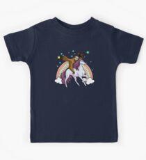 Lazy Sloth Cowboy Riding Unicorn Fantasy Colorful Rainbow Kids Clothes